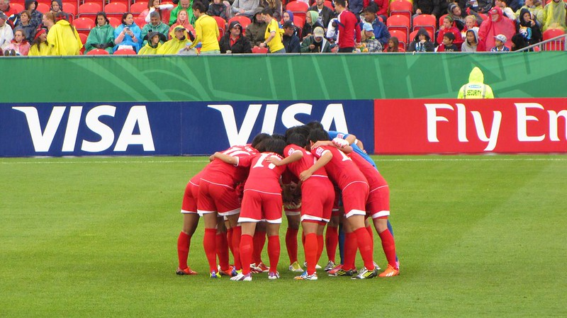 North Korea vs USA, U-20 Women's World Cup - North Korea huddle