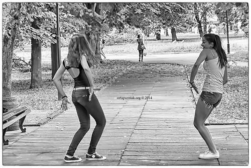 Girls Dancing (BW)