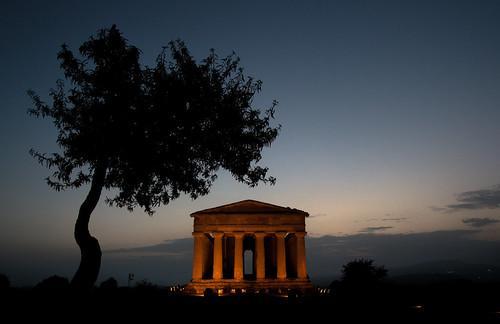 italy silhouette tramonto valle albero nero sicilia agrigento templi templio