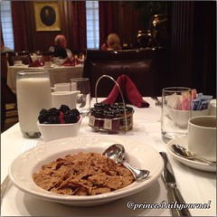 """A change of scenery! I absolutely love the Victorian look! And the lighting is perfect--I didn't have to edit the image. #whatsprinceeating: """"Raisin Bran Cereal w/ Mixed Berries"""" www.princesdailyjournal.com #princeinthecity #princeinthecity #food #foodie"""