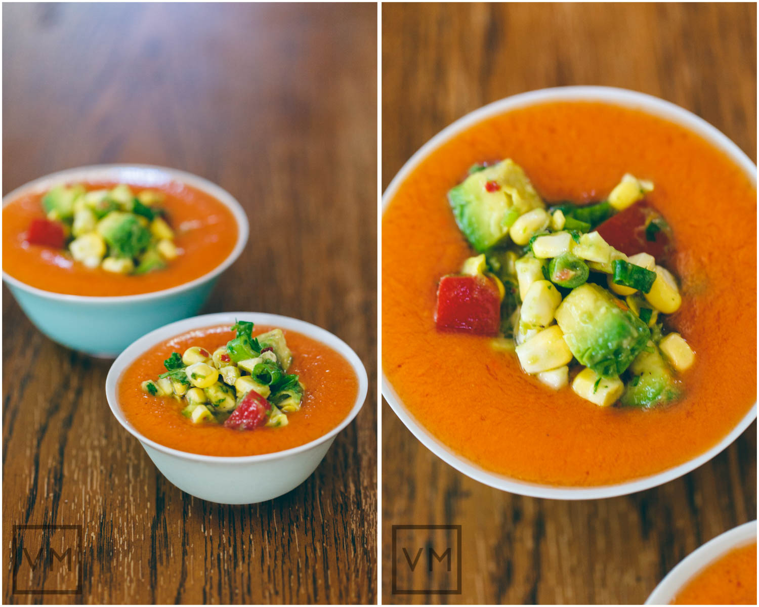 Raw Gazpacho with Raw Corn Salsa