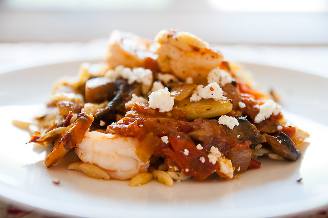 shrimp and orzo bake with feta