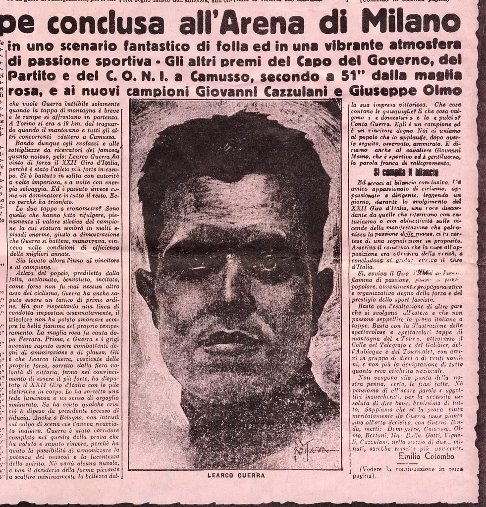 la vittoria di Guerra al Giro del '34 (articolo Gazzetta dello Sport)
