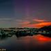 Jökulsárlón and eruption glow (Holuhraun) by raudkollur