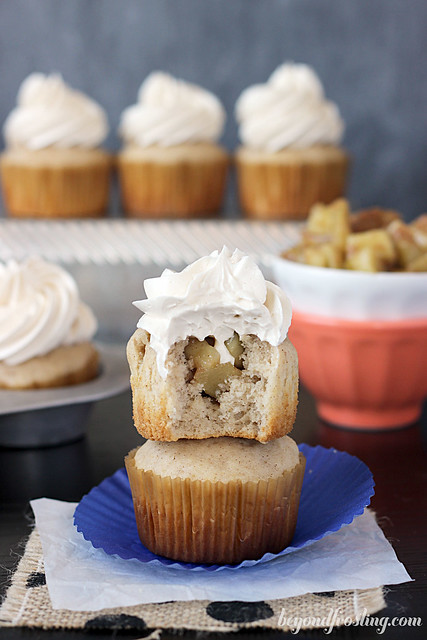 Apple Pie Muffins with Maple Swiss Meringue Buttercream