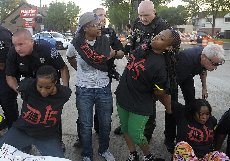 Fast-food demonstrators who are asking for $15/hour minimum wage are arrested in Detroit