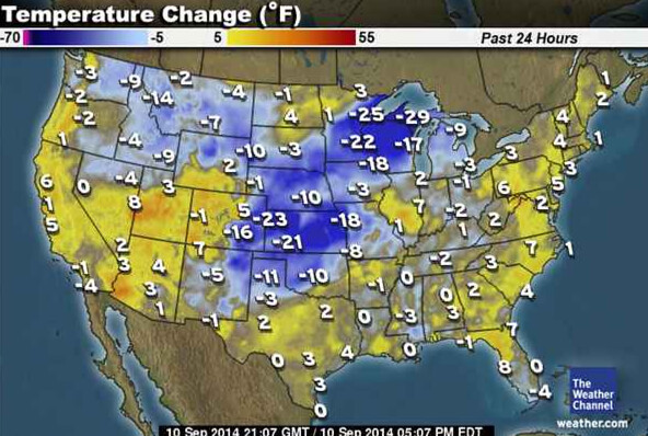 Temperature departure from normal United States