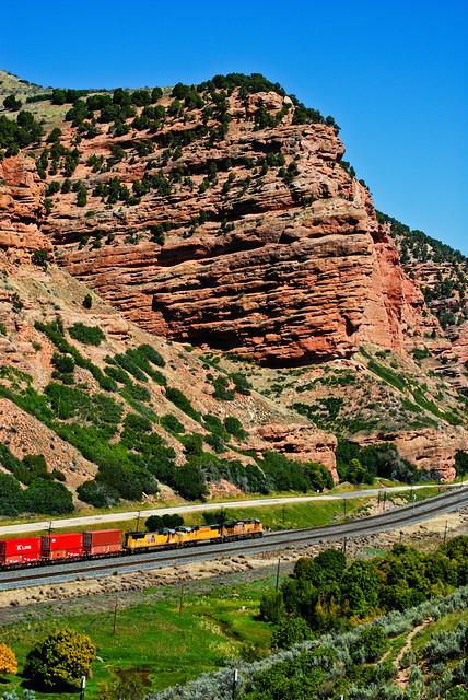 Train Along the Rocks