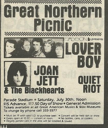07/30/83 Great Northern Picnic 1983 @ Parade Stadium, St. Paul, MN (ad 1)
