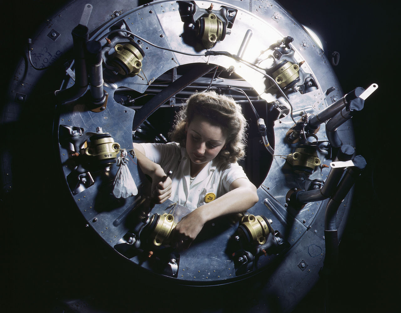 Part of the cowling for one of the motors for a B-25 bomber is assembled in the engine department of North American Aviation's Inglewood, Calif., plant