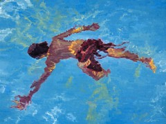 """Aerial View of Boy Swimming in Pool"" now on exhibit at ViVO Contemporary #aerial #figurativeart #impressionism #artcollector #interiordesign #santafe #canyonroad"