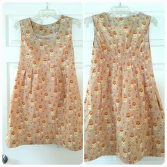 orange, pattern, day dress, textile, clothing, pattern, peach, design, dress,