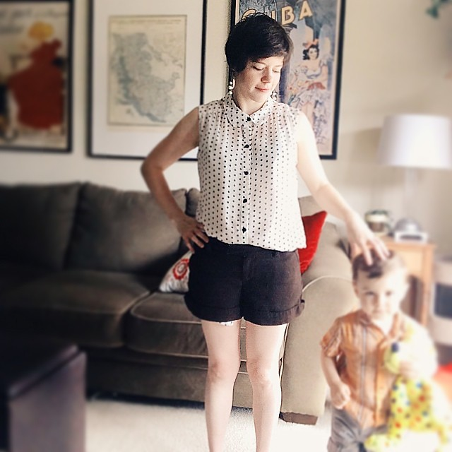 Thrifted What I Wore: Wednesday Edition. Everything thrifted except for the earring.  (On L: everything but the stuffed animal.) #whatiwore #wiw #thrifted #thrifting #thriftculture #thriftanthology