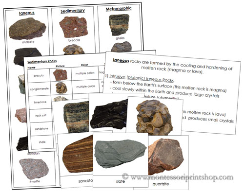 Rocks - Igneous, Sedimentary, and Metamorphic from Montessori Print Shop