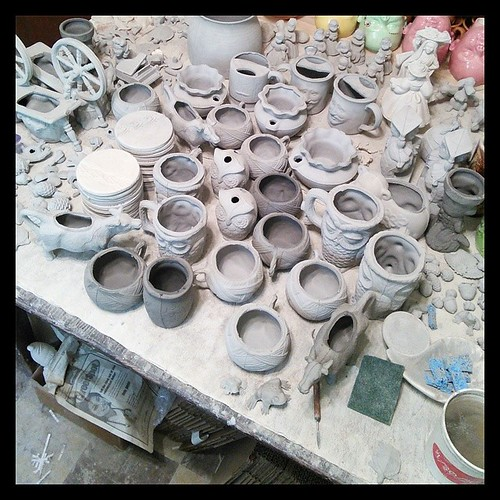 I have some cleaning to do. #ceramics #slipcast #greenware