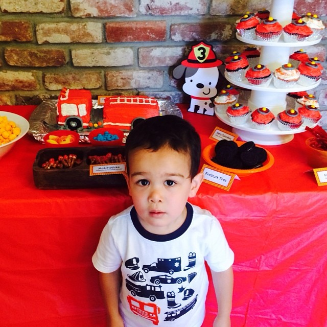 Cute pic from Pop-pop of the birthday boy in front of the dessert table :). Had such a fun weekend celebrating with friends and family. Vincent not a baby anymore!!