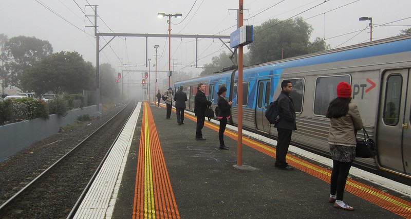 Bentleigh station in the fog
