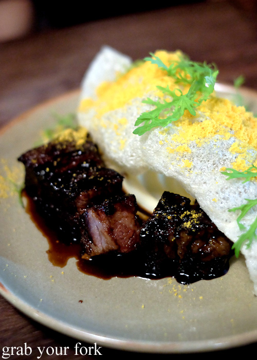 Short rib with beef tendon chip and cauliflower at Hartsyard, Newtown