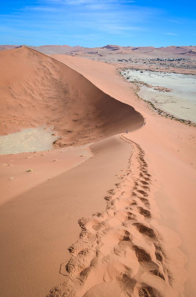 Climbing Big Daddy dune, Sossusvlei, Namibia