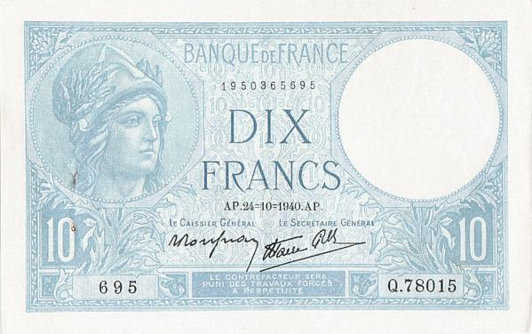 10 Frankov Francúzsko 1940, Pick 84