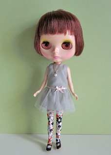 low waist tulle dress gray
