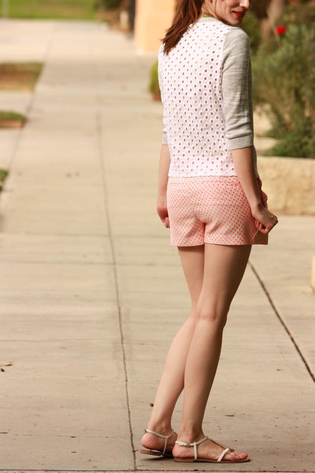 Eyelet Sweater, polka dot shorts