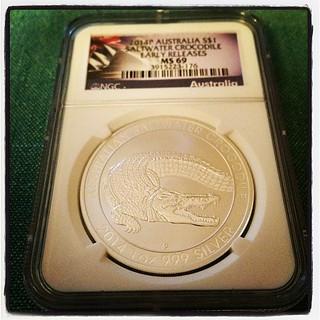 Australian Saltwater Crocodile silver coin. #numismatics