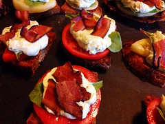 hors d'oeuvre, vegetable, tapas, meat, food, dish, cuisine,