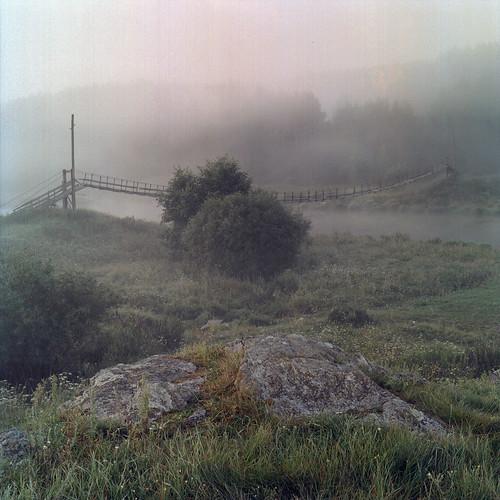 morning film fog river village russia hasselblad portra ural россия iset пленка temnovka
