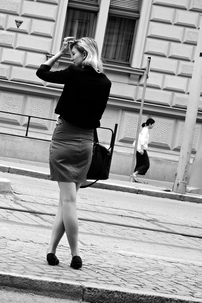 Young Lady at Tram Stop
