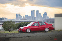 Alexs bagged Jetta blowing up the Minneapolis sunset