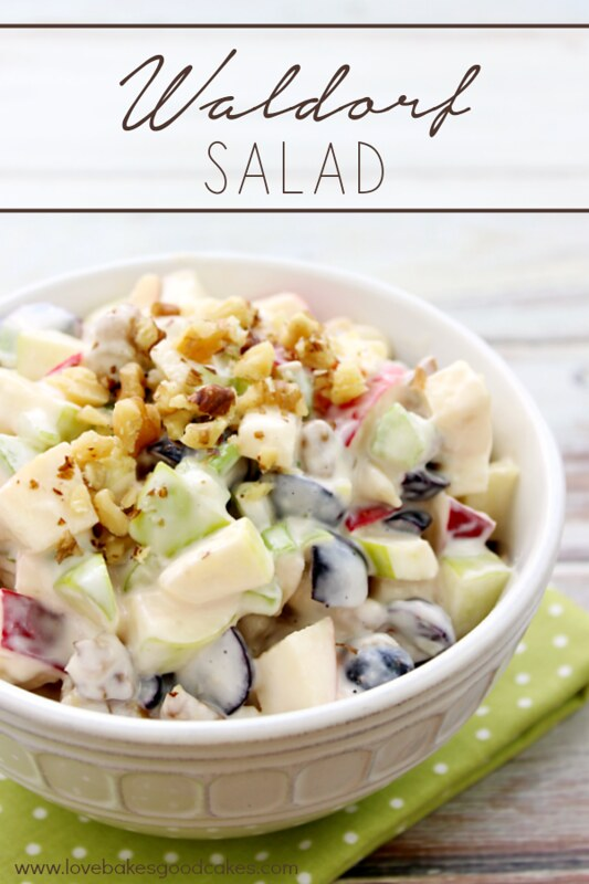 Waldorf Salad with California Walnuts in a white bowl.