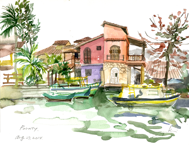 Late afternoon sketch in Paraty( one hour)