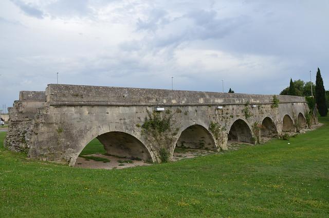 Aqueduct of Pont de Crau built in the 1st century AD, Arles, France