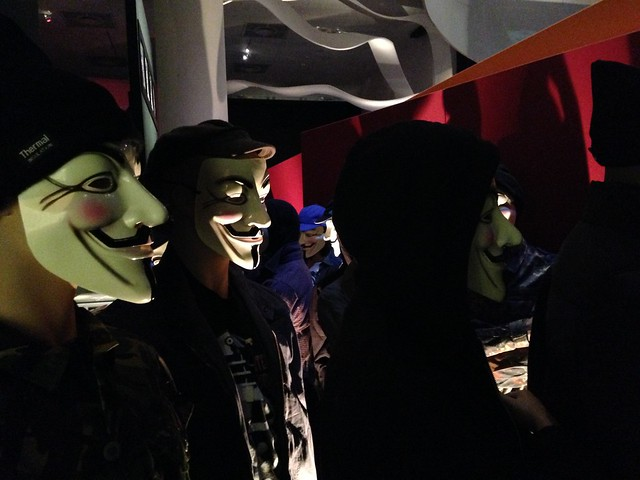 mannequins wearing V masks
