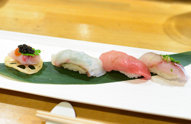 Yellowtail with Caviar, Snapper, Toro, Spanish Mackerel