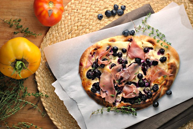 Blueberry Pizza with Honeyed Goat Cheese and Prosciutto 3
