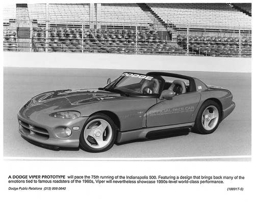 1991 Dodge Viper Prototype Indianapolis 500 Pacecar