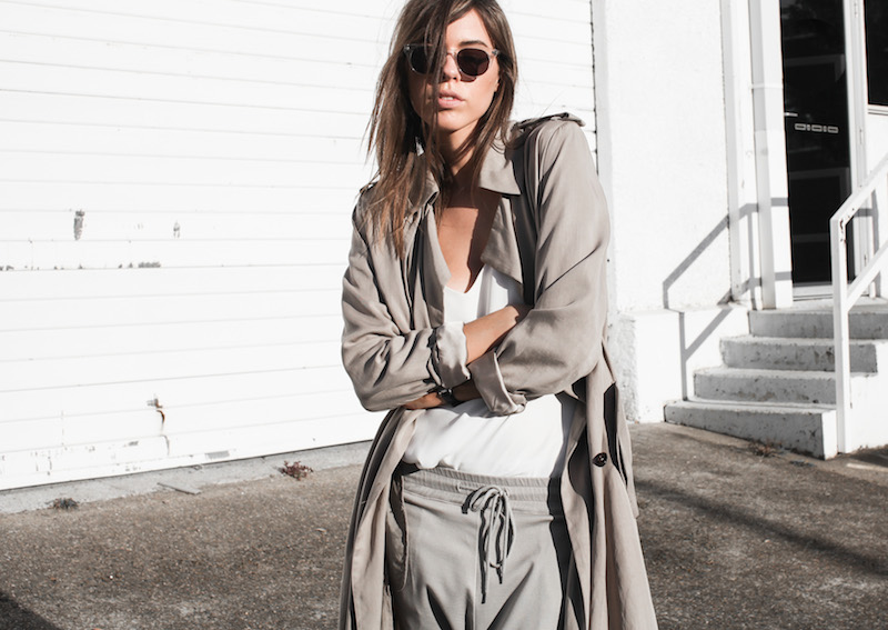 modern legacy fashion blog Australia fall Zara silky trench coat street style neutrals Bassike Birkenstock Madrid Alexander Wang bag (10 of 14)