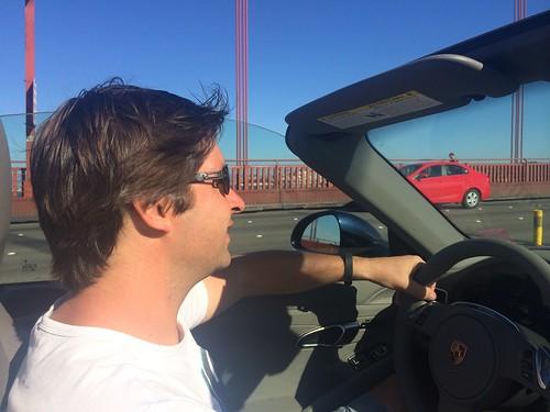 Danny crossing the Golden Gate Bridge