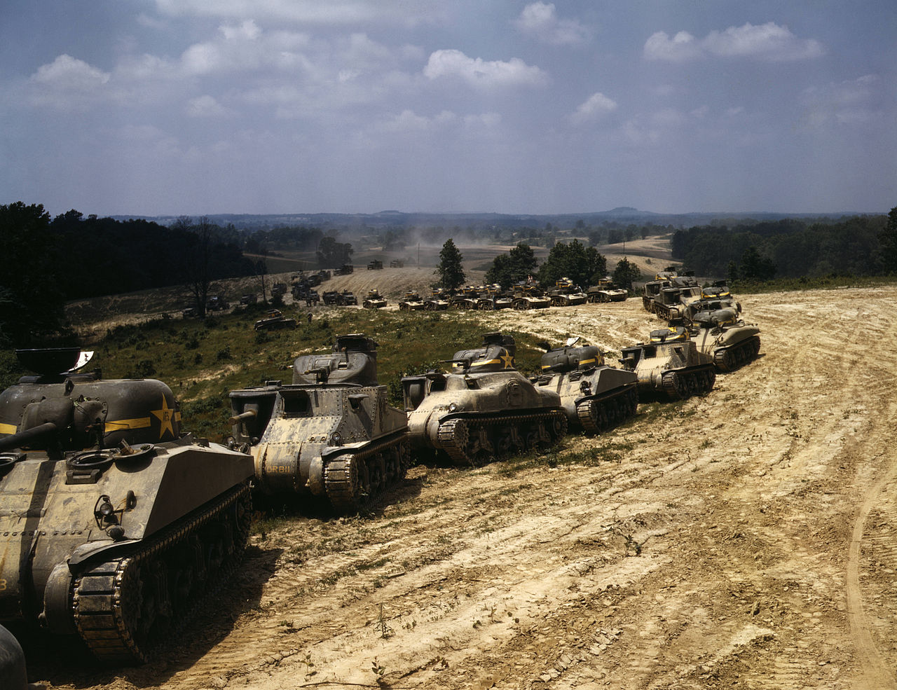Parade of M-4 (General Sherman) and M-3 (General Grant) tanks in training maneuvers, Ft. Knox, Ky,1942