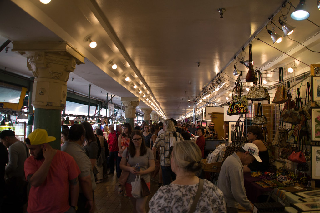Crowds inside Pike Place Market