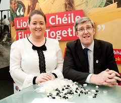 Áinín Haughey and Education Minister John O'Dowd at the Líofa stand at the Balmoral Show