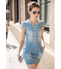 Summer New Women Dress V-neck Denim Dress Women Denim Skirt Diamonds Mounted Mini Sexy Slim Dress Casual-3@Patravol