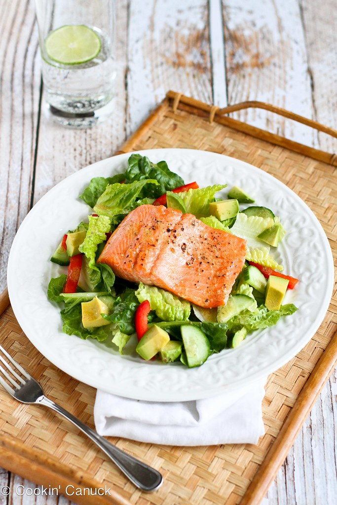 Salmon & Avocado Salad Recipe with Miso Lime Dressing | cookincanuck.com