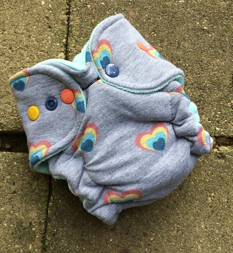 Bumstoppers Newborn Hybrid Fitted  Rainbow Heart