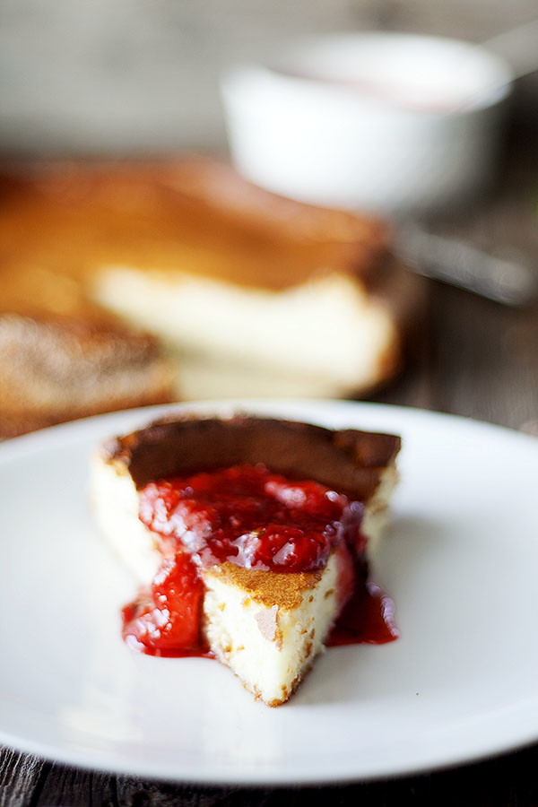 Ricotta Cheesecake with Strawberry Basil Saice