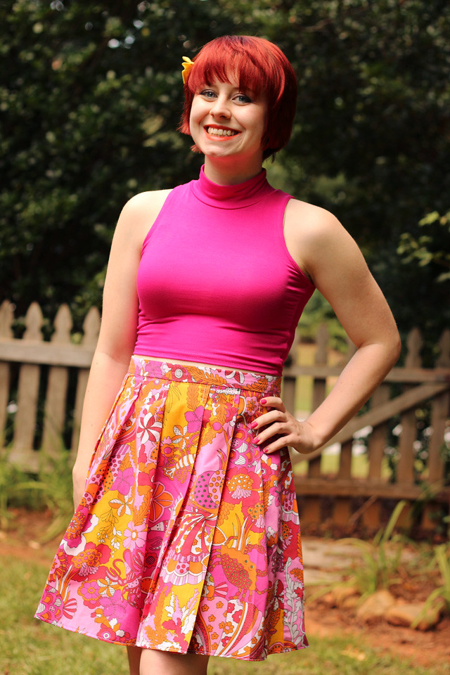 Colorful Sea Print Tropical Skirt, Pink Mock Turtleneck Top, and Yellow Hairbow