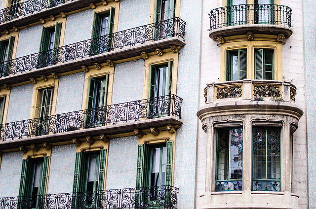 Barcelona is full of stunning architecture, check out the beautiful balconies and windows, not to mention the stunning wall texture, of this building.