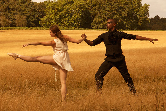 Behind the scenes: Eric Underwood and Claire Calvert being filmed for Charlotte Edmonds retelling of Leda and the Swan film © ROH 2014/ Ruairi Watson
